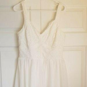 Short white chiffon/lace dress size L